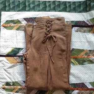 Anthropologie Flowy Linen Pants Trousers